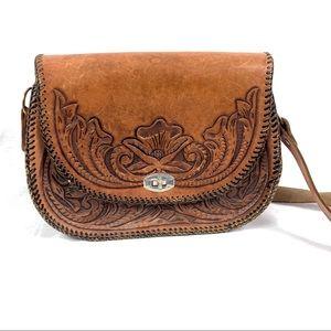 Vintage Handmade Tooled Saddle Leather Western Bag